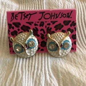 Betsey Johnson Owl Earrings Blue
